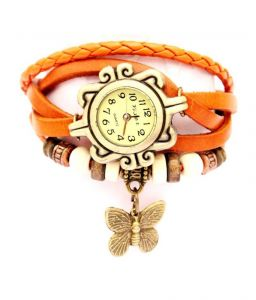 Mf Crystal Collections Orange Vintage Leather Watch