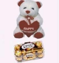 Teddy Bear With Voice & Ferrero Rocher 16 PCs