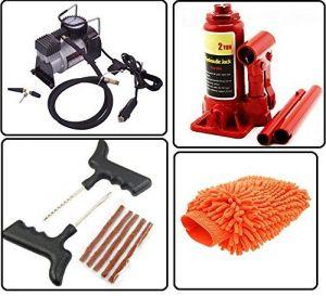 Autostark Car Accessories Combo Air Compressor 2 Ton Hydraulic Bottle  Puncture Repair Kit Microfibre Cloth For Maruti 800