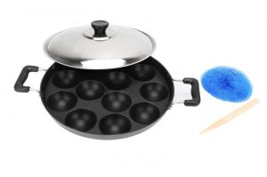 Bms Lifestyle Non-stick Aluminium Black 12 Cavity Appam Patra/pan With Handle And Lid