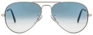 "Classic Aviator Style Men""s Sunglasses Silver Frame/light Blue Gradient"