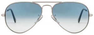 "Classic Aviator Style Men""s Sunglasses Silver Frame/light Blue Gradient"