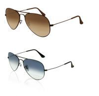 Set Of 2 Brown And Blue Uv Protected Aviator Sunglasses