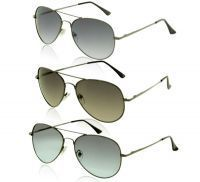 Combo Of Black,grey & Blue Aviator Sunglasses