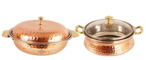 Steel Copper Donga 750 Ml 1 Casserole Handi Glass Lid 700 Ml Dishes