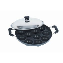 Cookware - 12pits Bright Non-stick Appam Patra Maker With Stainless Steel Lid