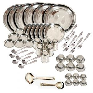 Dinner sets - Kitchen Pro 50pcs Stainless Steel Dinner Set - Silver