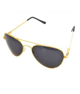 Lime Black Aviator Look Sunglasses With Golden Frame