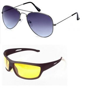 Combo Of Blue Gradient Aviators And Night Driving Sunglasses