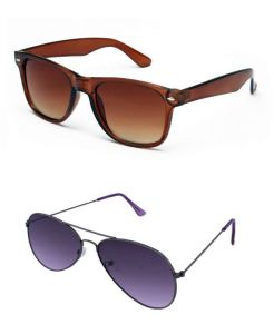 Blue-tuff Mens Wayfarer Aviator Sunglass Combo-brown/purple