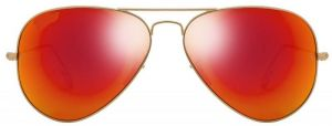 "Classic Aviator Style Men""s Sunglasses Golden Frame/sunset Mirror"
