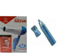 Hair Dryer - 850 Watts With Nose & Ear Hair Trimmer Rechargeable