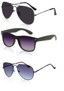 3 Sunglass Combo- Black Aviators, Black Wayfarers And Blue Aviators
