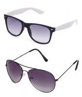 Buy 1 Get 1 Free - Black/white Wayfarers & Gray Aviators