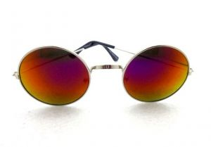Round Metal Frame Mirror Lens Sunglasses-6767554