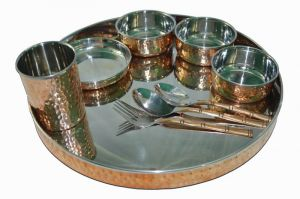 Raghav India 100 Per Genuine Copper Finish With Stainless Steel Inside Dinner Set