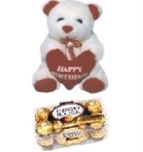 Talking Teddy With 16pcs Ferrero Rocher Chocolates