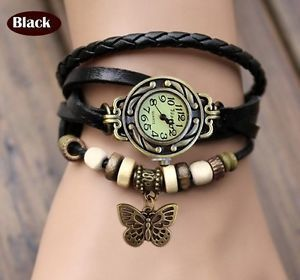 Vintage Retro Beaded Bracelet Leather Women Wrist Watch