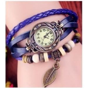 Vintage Retro Beaded Bracelet Blue Leather Women Wrist Watch