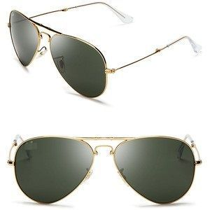 Golden Frame & Green Glass Aviator Sunglasses For Men & Women