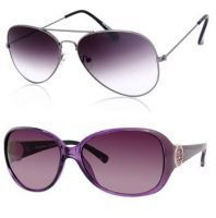 Buy 1 New Trendy Style Ladies & Get 1 Purple Gradient Aviator Sunglass Free