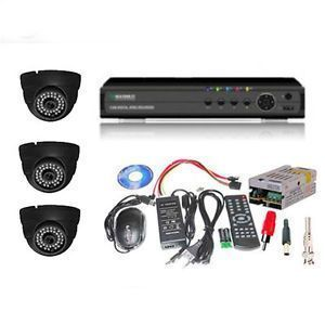 Security Cameras - Set Of 3 Night Vision Cctv Cameras And 4 Ch Dvr With All Required Connector