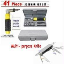 41 PCs Toolkit Screw Driver Set Army Knife