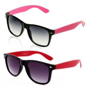 Men & Women Combo - Black With Red Wayfarer & Pink Wayfarer Style Sunglass