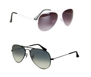 White Aviator And Black Aviator Sunglass Combo