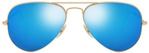 "Classic Aviator Style Men""s Sunglasses Golden Frame/blue Mirror"