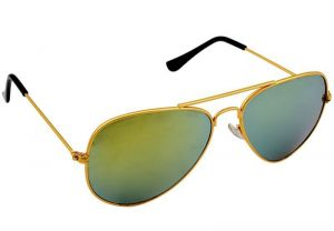 Mirror Green Aviator Sunglass With Curved Lenses (w2h)