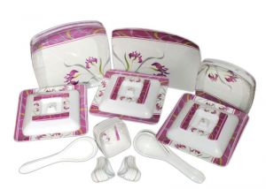 Geeta Diamond Square 44 PCs Melamine Dinner Set Le-gds-006, Multicolor