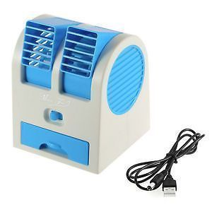 Mini Small Fan Cooling Portable Desktop Dual Bladeless Air Cooler USB
