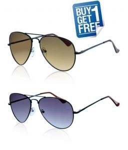 Buy 1 Get 1 Free - Brown & Blue Aviator Style Sunglasses