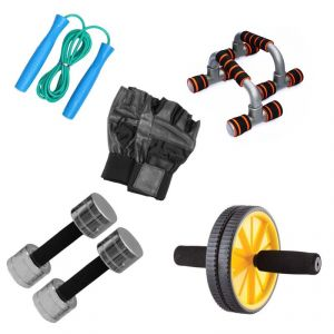 Livestrong Fitness Kit Steel Dumbells 2 Kg Each Ab Wheel Dip Stand Push Up Bar