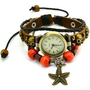 Wrap Around Weave Leather Watch Bracelet Wristwatch Wristband