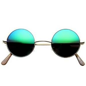 Round Metal Frame Mirror Lens Sunglasses-678911