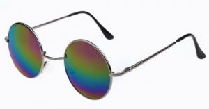 Round Metal Frame Mirror Lens Sunglasses-678912