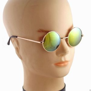 Round Metal Frame Mirror Lens Sunglasses-678914