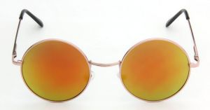 Round Metal Frame Mirror Lens Sunglasses-678915