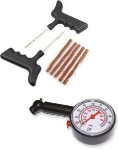 Car Styling Products - Autostark Tubeless Tyre Puncture Repair Kit With Tire Pressure Gauge Combo