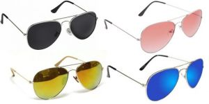 Sunglass Combo - Black S Red 2 Shade ,green Mercury ,blue Mercury