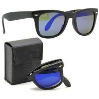 Sunglasses, Spectacles (Mens') - Stylish Black Folding Wayfarers With Blue Shades