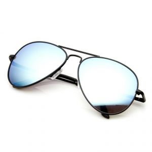 Classic Black Aviators With Mirror Lens