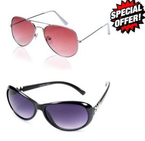 Combo Of Pink Aviators And Oval Black Sunglasses With Purple Lens