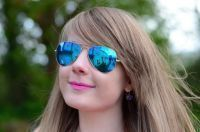 New Blue Mirrored Aviator Style For Women Sunglasses