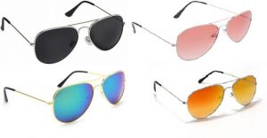Sunglass Combo - Black S Red 2 Shade ,green Blue Mercury ,golden Mercury