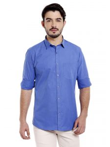 Solemio 100 Percent Cotton Navy Colour Full Sleeve Shirt For Mens (code - A17sh1043env)