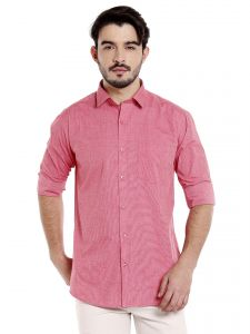 Solemio 100 Percent Pink Cotton Full Sleeve Shirt For Mens (code - A17sh1043erd)