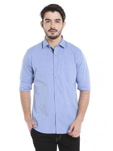 Solemio 100 Percent Cotton Blue Full Sleeve Shirt For Mens (code - A17sh1044ebu)